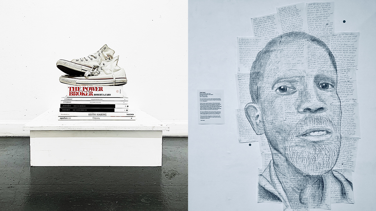 Two works made by homeless artists from the exhibition Goliath; one work is of a pair of converse sneakers atop a pile of books. The other is a drawing of a poet drawn on top of sheets of his poetry.