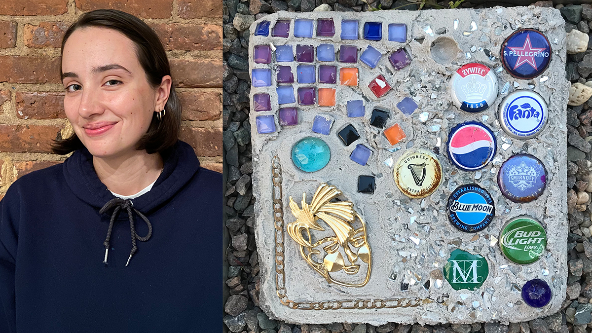 Art therapist Holly Brennan and a picture of a tile work made by residents of the group home she works at, featuring bottle caps, pieces of glass and other found items.